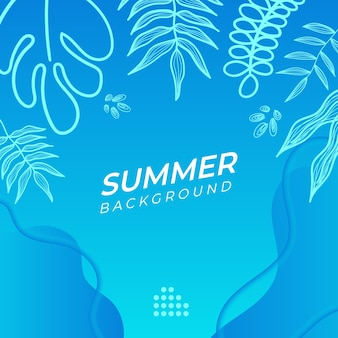 花と熱帯の夏の葉と夏のソーシャルメディアバナー。