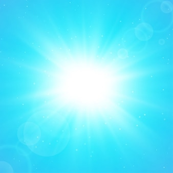 Summer solar background. the rays of sunlight that spread from the center in the summer.