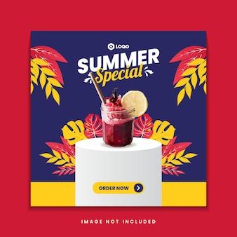 Summer special drink menu social media post template