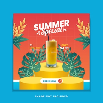 Шаблон сообщения в социальных сетях летнего меню специальных напитков