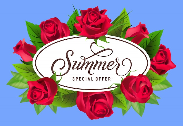 Summer special offer lettering in frame with roses. summer offer or sale advertising