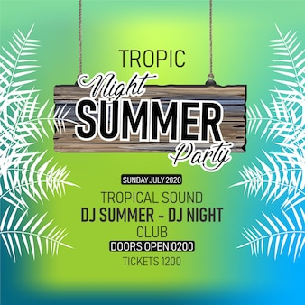 Summer special party flyer - floral, leafy, flyer