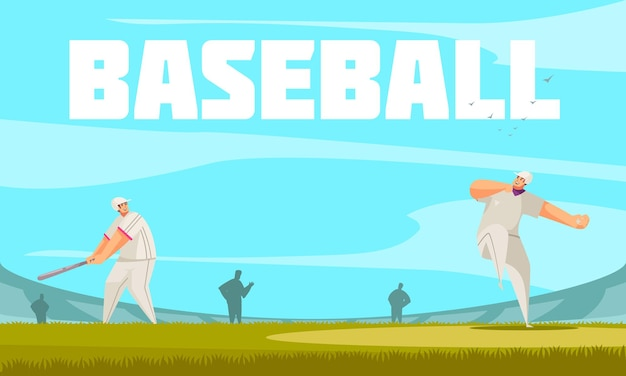 野外競技場のイラストと夏のスポーツ野球の構成
