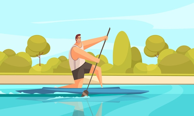Summer sport canoeing composition with outdoor river landscape with green banks and human character of canoeist  illustration Premium Vector