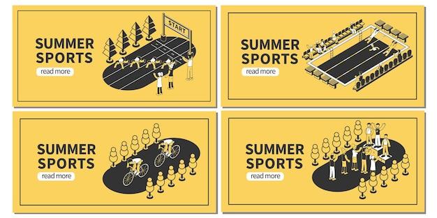 Набор горизонтальных баннеров для летних спортивных соревнований с редактируемым текстом, кнопка «читать дальше» и изометрические изображения
