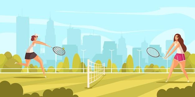 都市景観イラストとのゲームに従事する女性の人間のキャラクターと夏のスポーツテニスの構成
