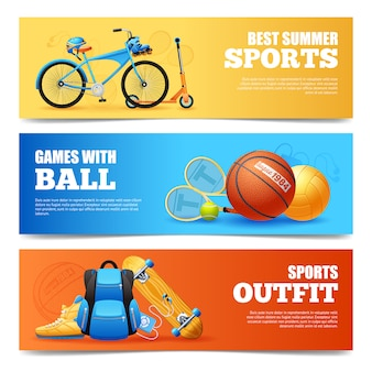 Summer sports banners set
