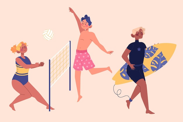 Концепция иллюстрации летних видов спорта