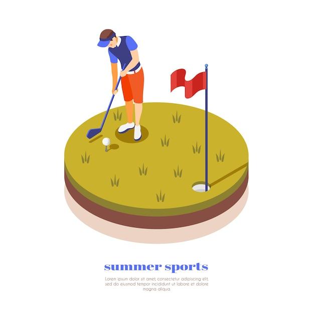 Illustrazione isometrica di sport estivi con sportivo che tiene putter per giocare a golf