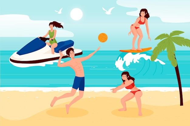 ビーチでの夏のスポーツの人々
