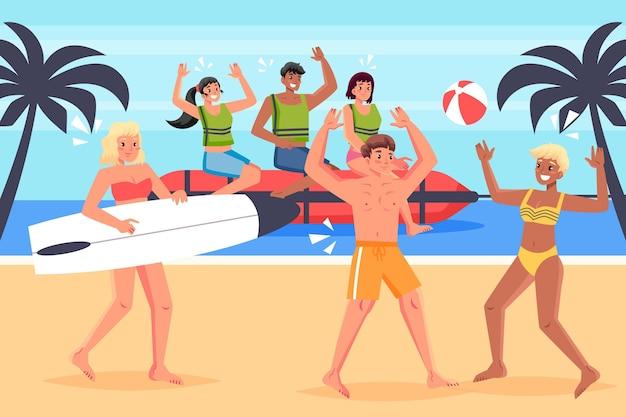 夏のスポーツの人々のイラスト