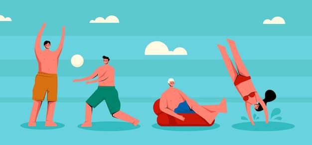 사람들과 여름 스포츠