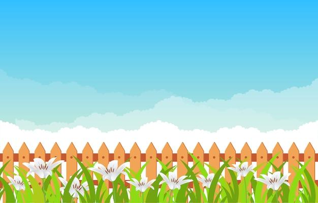 青い空を背景に夏春咲く花自然