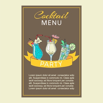 Summer or spring fizzy refreshing coctails party with paper umbrellas card