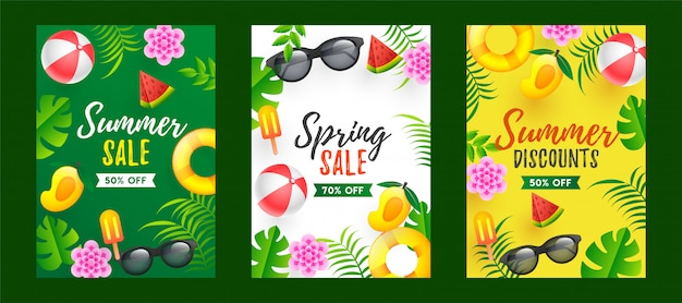Summer and spring sale template design with different colors