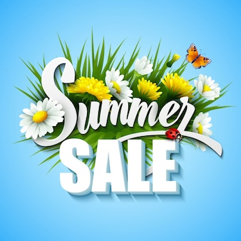Summer and spring sale template illustration