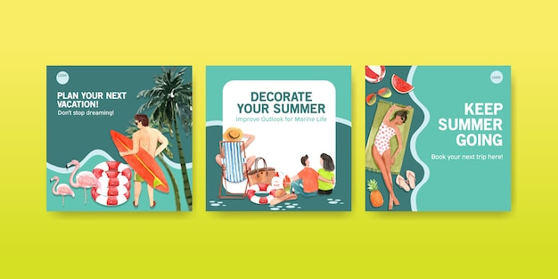 Summer square banner templates