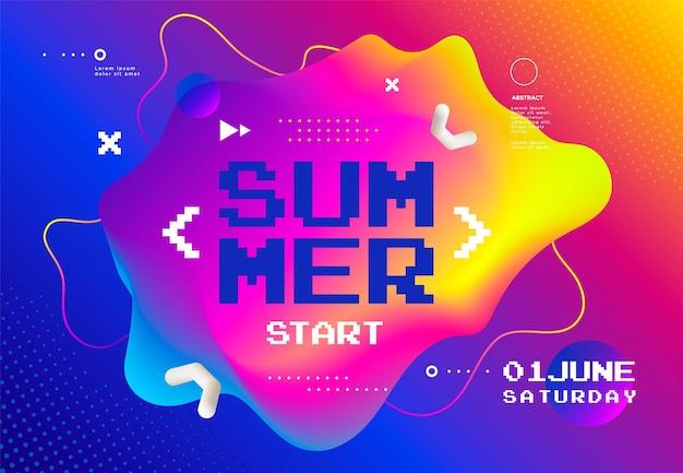 Плакат summer start fest обложка фестиваля кибер-игр абстрактный фон с плавной формой Premium векторы