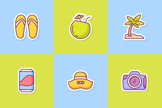Набор иконок летних стикеров набор коллекции с цветным стилем контура