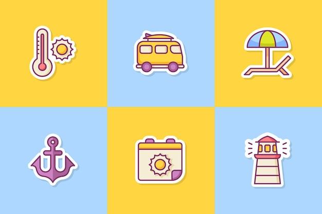 여름 스티커 아이콘 아이콘 색상 개요 스타일 컬렉션 패키지 설정