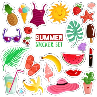 Summer stickers set
