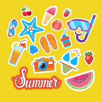 Summer stickers set