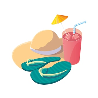 Summer straw hat with cocktail and flip flops