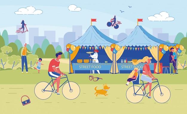 Летний уличный кулинарный фестиваль и отдых для счастливых людей