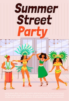 Summer street party poster flat template. dancing women in traditional wear. man playing conga. samba. brochure, booklet one page concept design with cartoon characters. carnival flyer, leaflet