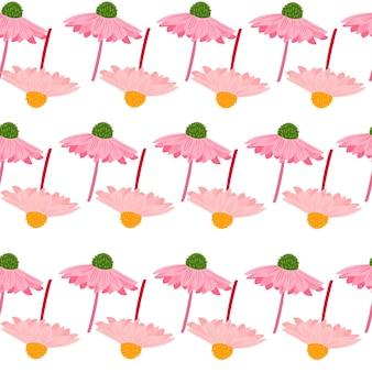 ピンクの創造的なガーベラの花と夏のスタイルのシームレスなパターン