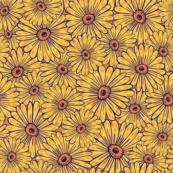 노란색 임의의 해바라기 요소가 인쇄된 여름 스타일의 매끄러운 패턴입니다. 장식 꽃 작품입니다. 계절 섬유 인쇄, 직물, 배너, 배경 및 배경 화면에 대한 벡터 일러스트 레이 션.