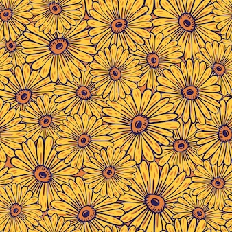 Summer style seamless pattern with yellow random sunflowers elements print. decorative bloom artwork. vector illustration for seasonal textile prints, fabric, banners, backdrops and wallpapers.