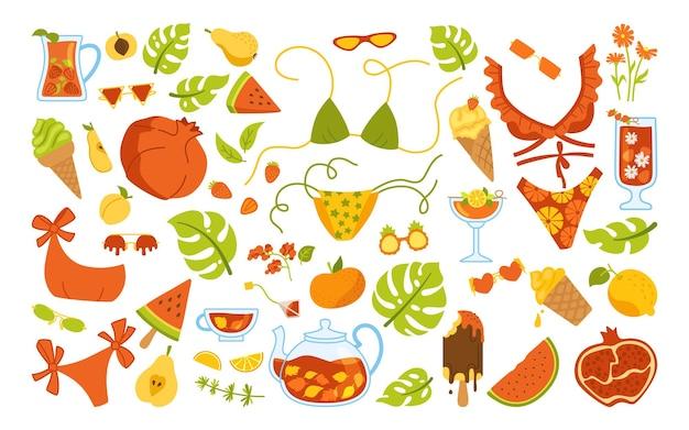 여름 세련된 만화 세트. 낙서 요소. 아이스크림, 칵테일 병, 비키니, 음료수, 몬스터 라. 플랫 손으로 그린 격리 됨