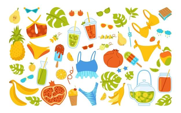 여름 세련된 만화 세트. 여름철 음식, 비키니, 음료, 몬스 테라 잎 과일