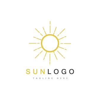 夏の太陽ロゴテンプレートベクトル