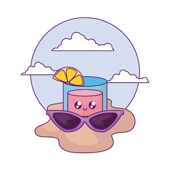 Summer sunglasses with cocktail kawaii in the beach