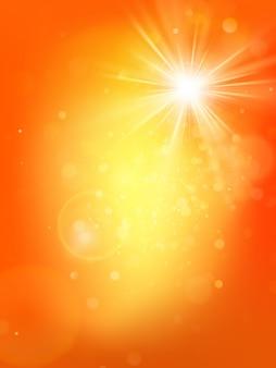 バーストとレンズフレアと夏の日当たりの良いホットオレンジテンプレート。暖かい太陽の光。