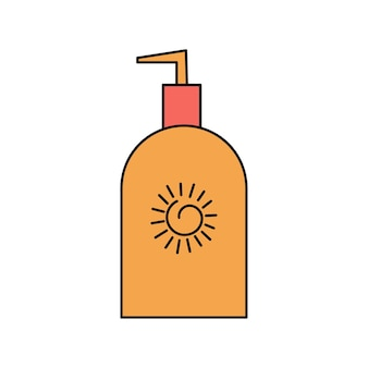 여름 자외선 차단제, 바디 로션. 태양과 uvb, uva 광선으로부터 보호. 흰색 배경에 고립 된 간단한 그림입니다. 여름 아이콘