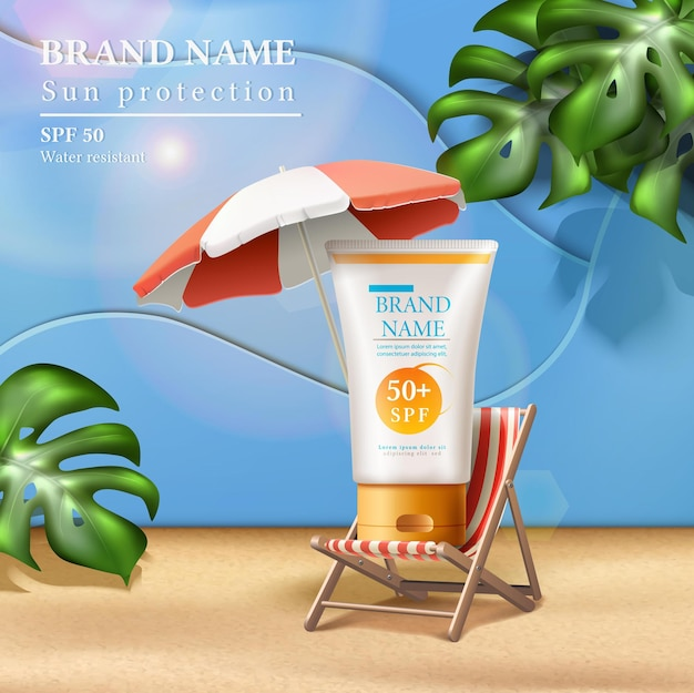 Summer sunscreen protection ad with cream bottle on the sunbed under umbrella with sunbeams and tropical leaves