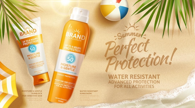 Summer sunscreen spray and cream lying on sand in 3d illustration with beach ball, palm leaves, top view sunblock ads