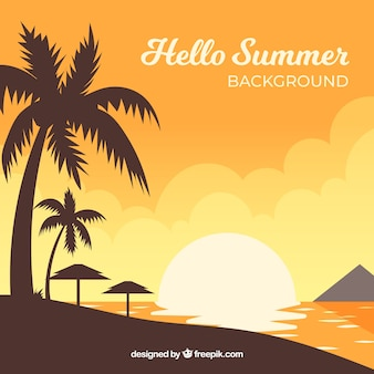 Summer sunset background with beach view