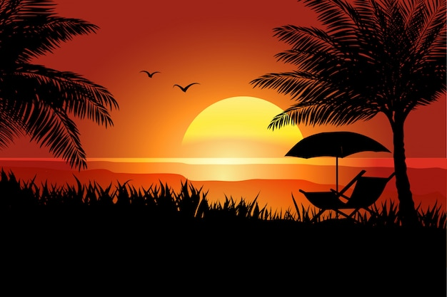 Summer in sunset with palm tree