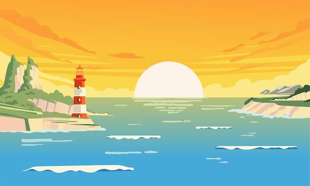 Летние закаты в бухте с маяком на набережной иллюстрации