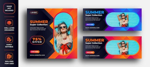 夏のスーパーホットセールのバナーとfacebookの広告