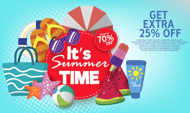 Summer super sale banner template on color background.