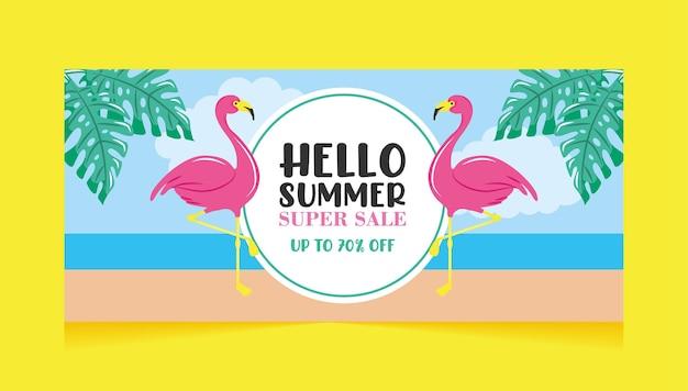 ビーチでフラミンゴと夏のスーパーセールバナー Premiumベクター