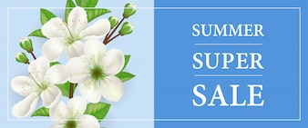Summer super sale banner with white blooming apple tree twig on blue background.