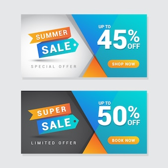 Summer and super sale banner