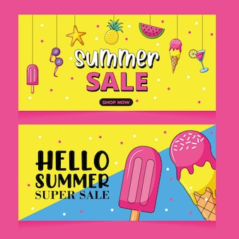 アイスクリームと飲み物がセットされた夏のスーパーセールバナー