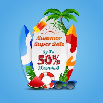 Summer super sale discount beach theme background